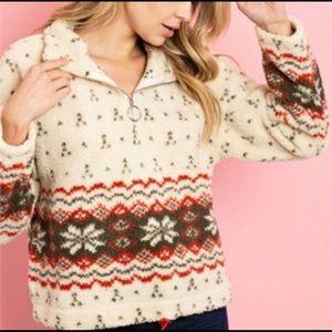 Fair Isle Sherpa Teddy Sweater